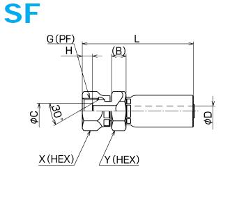 画像1: SF-PF金具(スウェイジタイプ)02 04 06 08サイズ (1)